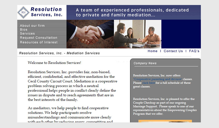 Web Site Design Client: Resolution Services, Inc